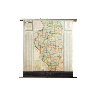 Vintage Cram's Pull Down Map of Illinois
