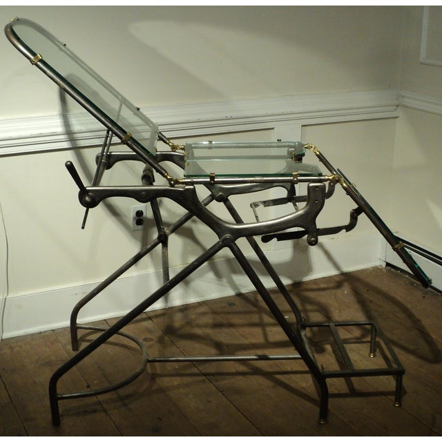 Antique Industrial Metal Glass Medical Chair Table - Image 7 of 11