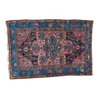 "Vintage Blue & Pink Hamadan Rug - 4' x 5'10"""