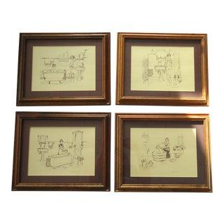 Vintage Bathroom Prints - Set of 4