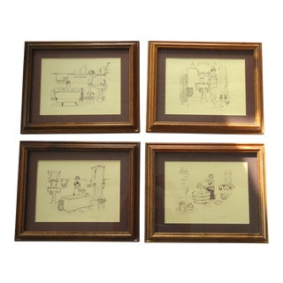 Vintage Bathroom Prints - Set of 4