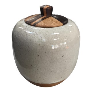 California Clay Ceramic Jar With Wood Lid