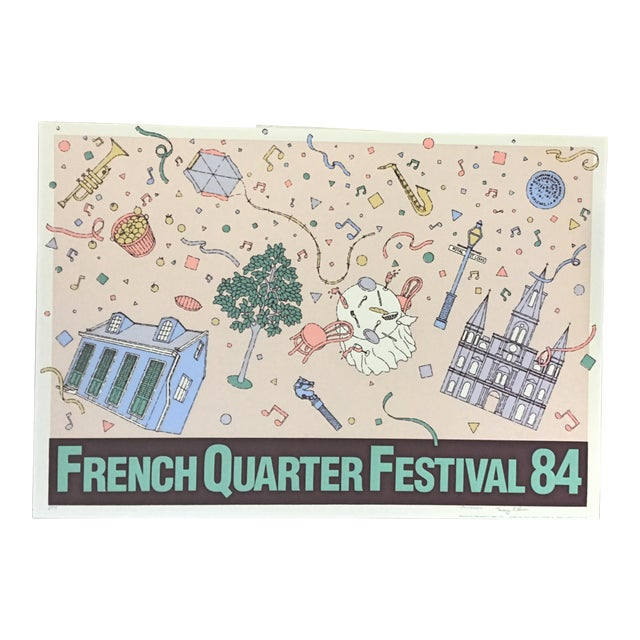 """Vintage """"French Quarter Festival 84"""" Lithographic Poster - Image 1 of 11"""