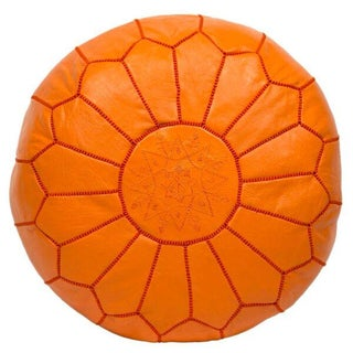 Embroidered Leather Pouf in Orange (Stuffed)