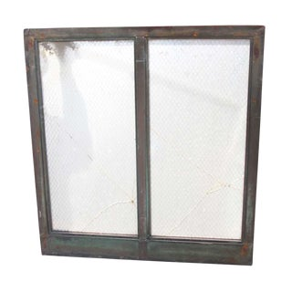 Verdigris Green Copper Double Pane Chicken Wire Glass Window