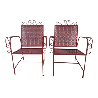 1940's Russell Woodard Red Wrought Iron Outdoor Chairs - a Pair