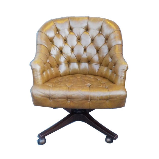 Chesterfield Khaki Leather Barrel Office Chair Chairish