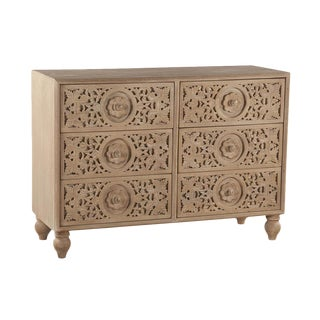 Hand Carved Solid Mango Wood Dresser