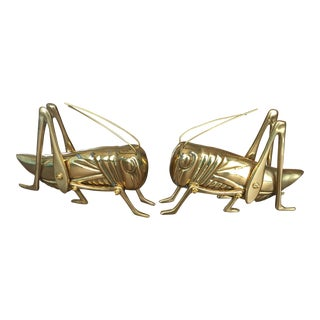 Solid Brass Cricket Figures- A Pair