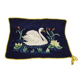 Swan Embroidered Royal Blue Velvet Pillow Cover
