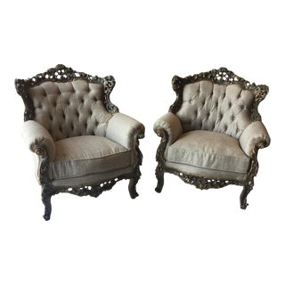 Gray Rococo Style Linen Tufted Chairs.