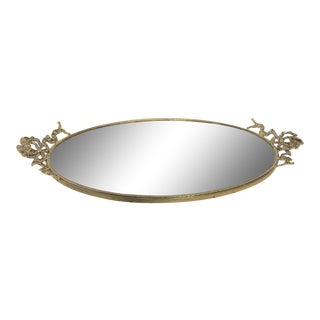 Vintage Art Nouveau Brass Oval Mirrored Dresser Plateau Tray