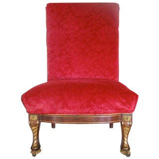 19th Century American Empire Rosewood Slipper Chair with Gilt Detailing
