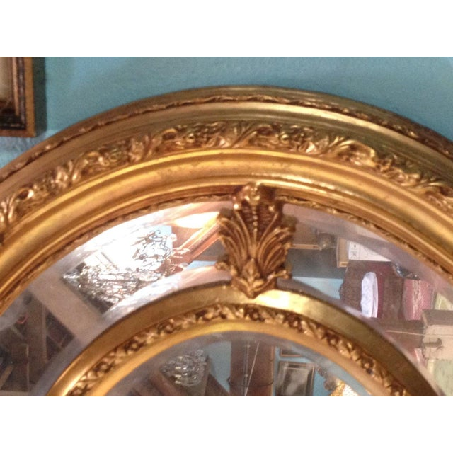 Antique French Louis XVI Gilded Wood Oval Mirror - Image 3 of 6