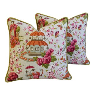 Custom Tailored Chinoiserie Pagoda & Floral Pillows - a Pair