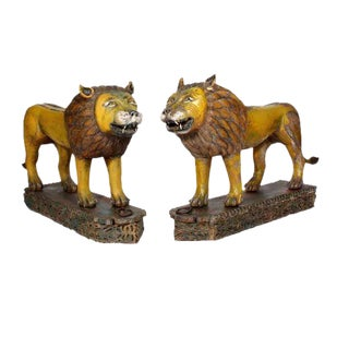 Large Pair of Carved and Painted Lions on Carved Bases