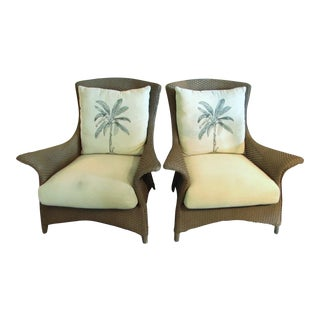 Lloyd Flanders Woven Rattan Lounge Chairs - A Pair
