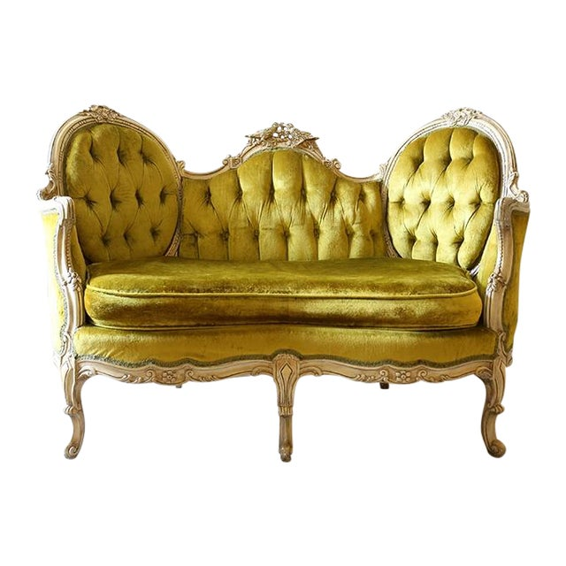 Victorian Style Lime Velvet Loveseat Chairish