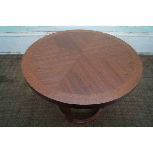 Lane Mid-Century Modern Round Walnut Side Table - Image 8 of 10