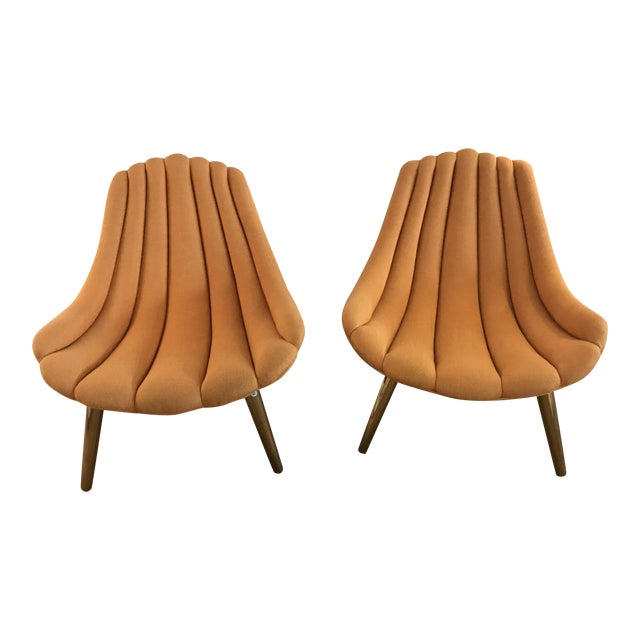 Jonathan Adler Brigette Orange Lounge Chairs - A Pair - Image 1 of 4