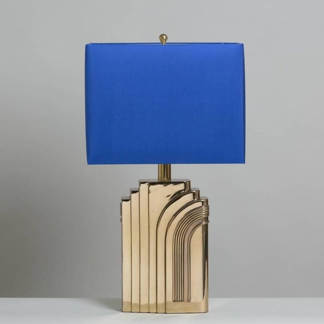 Image of Single Art Deco Style Brass Table Lamp 1970s