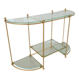 Vintage Metal and Glass Display Shelf