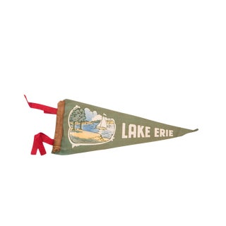 Antique Green Lake Erie Sailboat Felt Flag