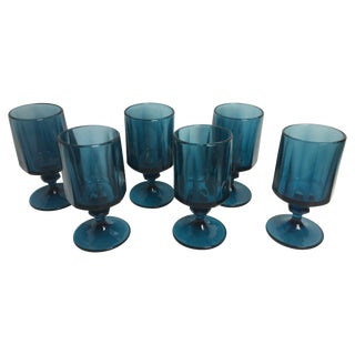 Vintage Peacock Blue Goblets - Set of 6