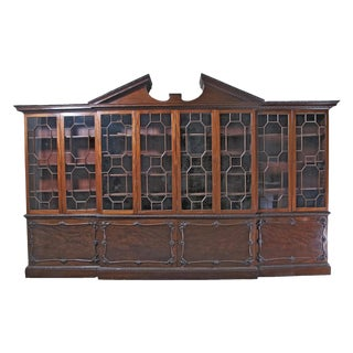 Huge George III Style Mahogany Breakfront Bookcase