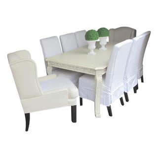 Shabby Chic Farmhouse Slipcovered Dining Set