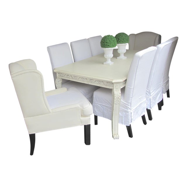 Shabby Chic Farmhouse Slipcovered Dining Set - Image 1 of 10