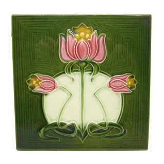 Green Tile With Pink Flowers