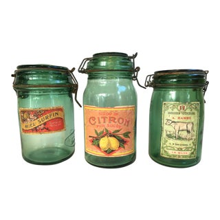 1930s French Canning Jars - Set of 3