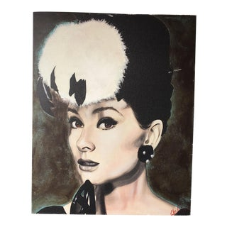 Audrey Hepburn Digital Art on Canvas Portrait