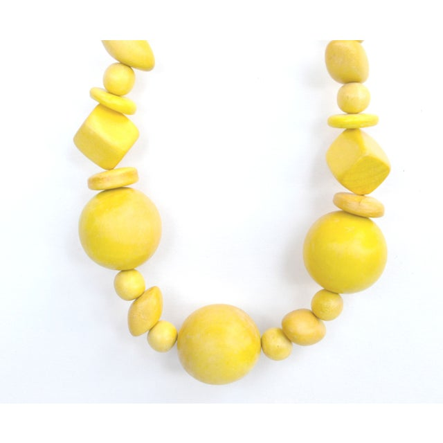Image of Vintage Yellow Geometric Bead Necklace