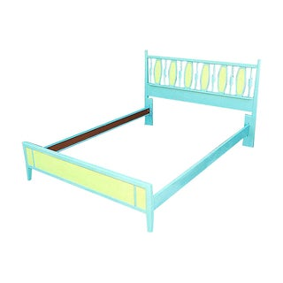 Mid-Century Blue & Green Full-Size Bedframe