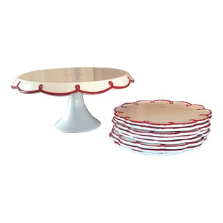 Crate & Barrel Red Scalloped Cake Set