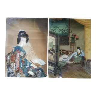 19th Century Chinese Revers Painted Glass Pictures