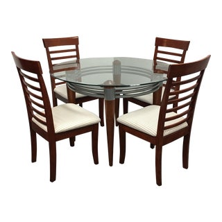 Round Glass & Cherry Dining Set