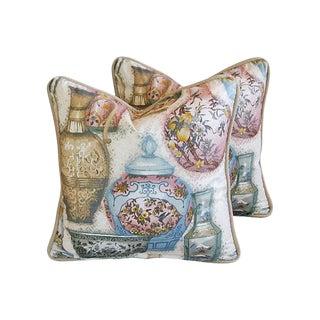 Custom Chinoiserie Vase Pillows - Pair