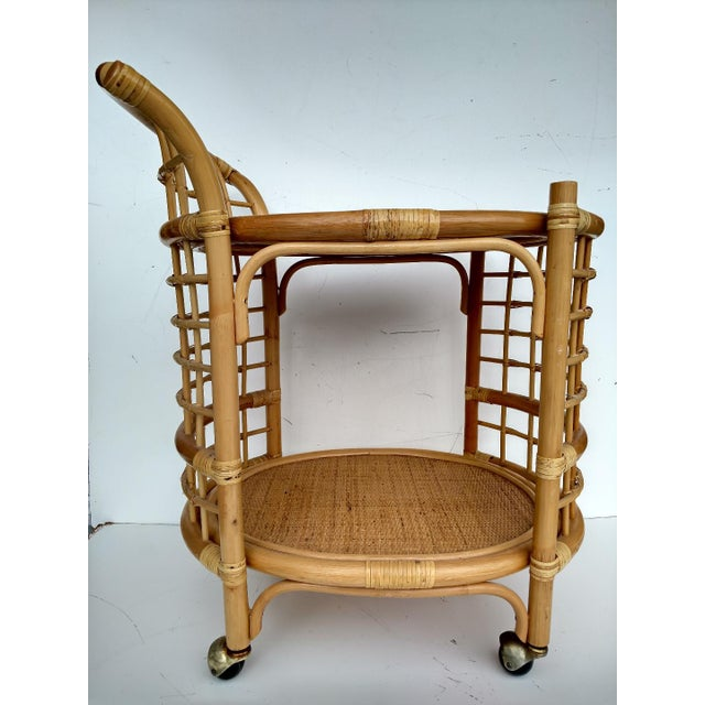 1970's Rattan 2-Tier Bar Cart with Swivel Casters - Image 2 of 8