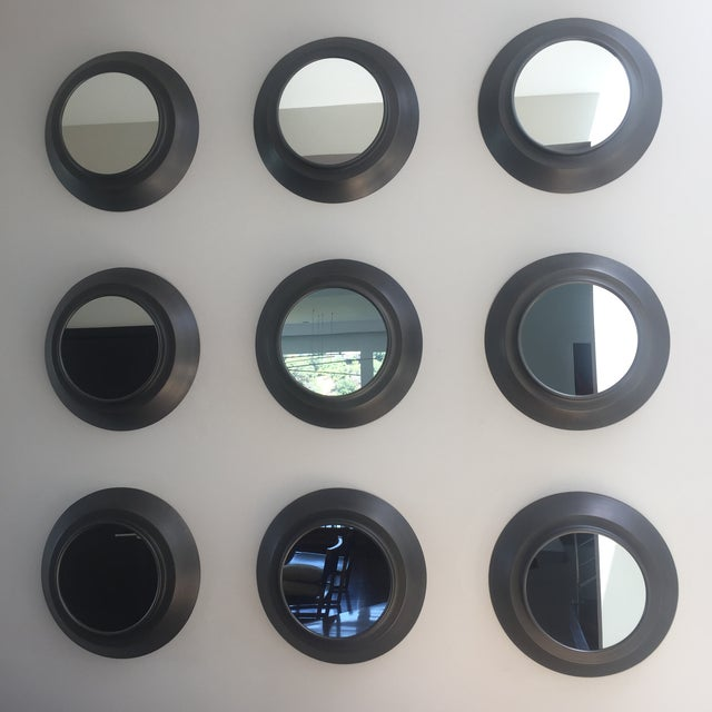 Image of Industrial Circular Metal Wall Mirrors- Set of 9
