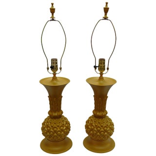 Vintage Hollywood Regency Brass Pineapple Lamps - A Pair