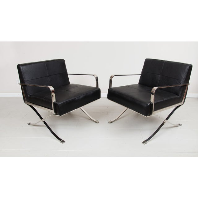 Modern Italian Leather Chrome Arm Chairs Pair Chairish