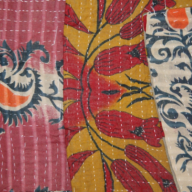 Vintage Red & Pink Kantha Quilt - Image 2 of 3