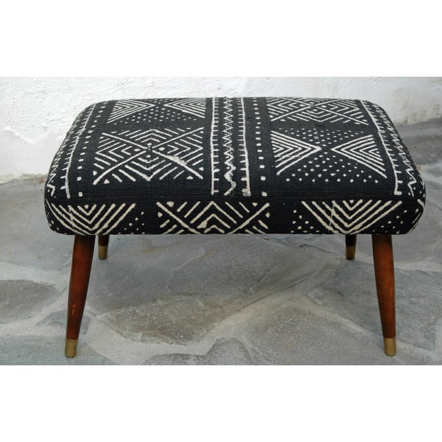 Mid-Century Footstool With African Mudcloth - Image 2 of 7