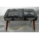 Image of Mid-Century Footstool With African Mudcloth
