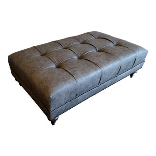 Gambrell Renard Gray Leather Tufted Ottoman