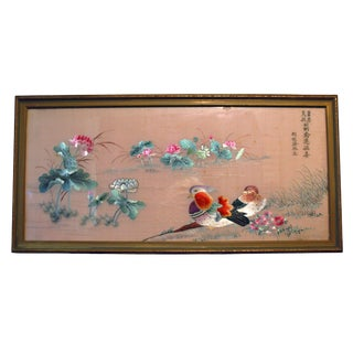 Antique Chinese Framed Silk Embroidery Mandarin Ducks