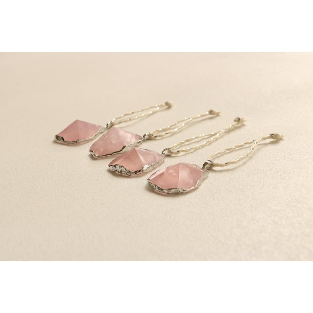 Image of Silver Gilded Rose Quartz Christmas Ornaments - S/8